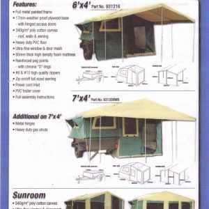 Camp Trailer weekly Rental 7x5